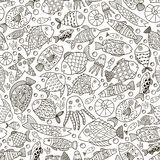 Ocean collection with doodle fish for coloring book Stock Photo