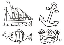 Ocean - coloring book Royalty Free Stock Images