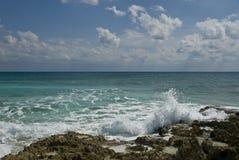 Ocean in Cozumel, Mexico. Ocean splashing to shore in Cozumel, Mexico Stock Photos