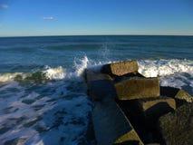 Ocean Crash. Waves crashing into jetty on North Beach Hampton New Hampshire stock images