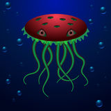 Ocean creature with big eyes and long tentacles. Unusual deep water creature in red and green colors Stock Images