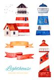 Ocean creature with lighthouse and ribbons banner. Nautical watercolor set. Ocean creature with lighthouse and ribbons banner.Perfect for invitations,party stock illustration