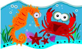Ocean creatures. Funny illustration of the ocean creatures in the water vector illustration