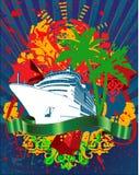 Ocean Cruise Liner Splash And Banner. Ocean Cruise Liner Splash And Green Banner Stock Images
