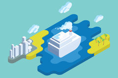 Ocean Cruise Summer Vacation. Flat Isometric Art. Royalty Free Stock Photography