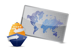 Ocean cruise and world map Stock Photography