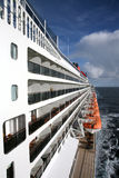Ocean cruiser. A side view of a big ocean cruiser, qm 2 Royalty Free Stock Photos