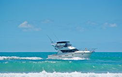 Ocean cruising in a boat Stock Images
