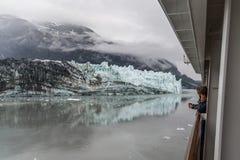 Ocean cruising on the Volendam at Glacier Bay, Alaska stock photography