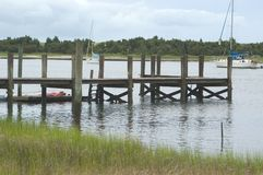 Ocean Dock. A boat dock that takes into consideration the tidal movement at Beaufort, North Carolina Stock Image