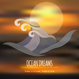 Ocean dreams travel template with unfocused. Ocean dreams travel template with realistic unfocused background. Great for travel company advertising Royalty Free Stock Photography