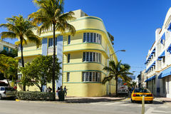 Ocean drive and art deco buildings Royalty Free Stock Images