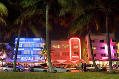 Ocean Drive art deco hotels illuminated at night, Miami Beach, Florida, USA. Ocean Drive, the center of the Miami Art Deco District, which is home to about 800 Royalty Free Stock Photography