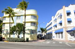 Ocean drive buildings. MIAMI - SOUTH BEACH - FLORIDA - USA - OCTOBER 29: Ocean drive buildings October 29 2012 in Miami Beach, Florida. Art Deco architecture in Royalty Free Stock Photo