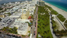 Ocean Drive Miami Beach Aerial video Royalty Free Stock Photography