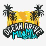 Ocean Drive Miami Beach Florida Summer Poster Design With Palm Trees Illustration. Vector Graphic Royalty Free Stock Images