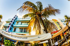 Ocean Drive in Miami with Columbus Restaurant in front of the famous Art Deco Style Colony Hotel. MIAMI, USA - July 31:  The Colony hotel located at 736 Ocean Stock Photo