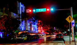 Ocean Drive Miami Lights Stock Images