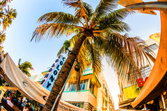 Ocean Drive in Miami with Restaurants in front of the famous Art Deco Style Colony Hotel. MIAMI, USA - July 31:  The Colony hotel located at 736 Ocean Drive and Royalty Free Stock Image