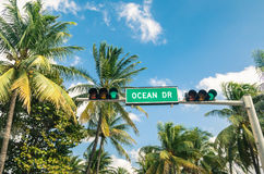 Ocean Drive in Miami - Road sign and green Traffic Light Royalty Free Stock Photo