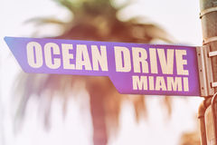 Ocean Drive Miami Street Sign Stock Image