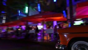 Ocean Drive at night stock video