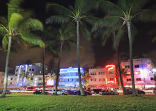 Ocean Drive at night in Miami Beach,Florida Royalty Free Stock Photos
