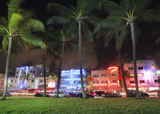 Ocean Drive at night in Miami Beach Stock Image