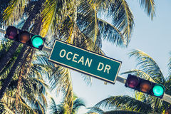 Ocean drive sign Stock Photos