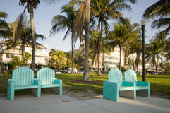 Ocean drive  south beach park miami florida Royalty Free Stock Image