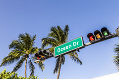 Ocean Drive Street Sign in Miami Beach Stock Images