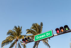 Ocean Drive Street Sign in Miami Beach Royalty Free Stock Images