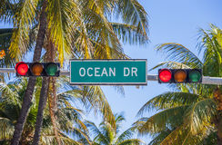 Ocean Drive traffic light Royalty Free Stock Photography