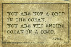 Ocean in drop Rumi. You are not a drop in the ocean - ancient Persian poet and philosopher Rumi quote printed on grunge vintage cardboard Royalty Free Stock Photography