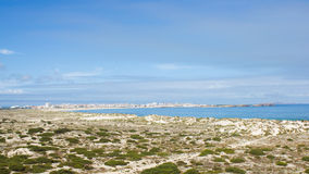 Ocean of dunes on the edge of the Atlantic Ocean. Landcape of an ocean on the edge of Atlantic Ocean in Baleal area, Peniche, Portugal. On the old and protected Royalty Free Stock Photo