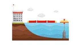 Ocean elektrownia Alternatywna elektryczności produkcja FALOWA energia Odnawialny naturalny zasoby Płaski wektorowy projekt ilustracji