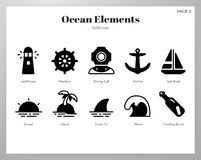 Ocean elements Solid pack royalty free illustration