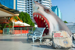 The ocean of excitement monument in a shark shape. Siam Paragon train station. Bangkok, Thailand. Stock Photography