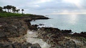 Ocean fala łama na rafowym brzeg zdjęcie wideo
