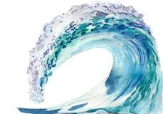 Ocean fala, akwareli ilustracja odizolowywająca na bielu Obraz Stock