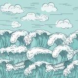 ocean fala deseniowe bezszwowe Ręka rysujący wektorowy ilustraci tło Zdjęcie Stock