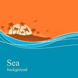Ocean fala i tropikalna wyspa Wektorowy tło ilustracji