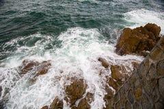 Ocean fala pluśnięcie na rafowym wideo Zdjęcie Stock