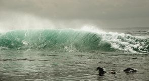 Ocean fala z pluśnięciami przy wschodem słońca Fotografia Royalty Free
