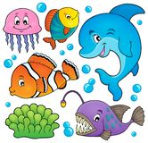 Ocean faun temat ustawia 1 Obrazy Stock