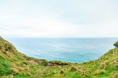 Ocean and field of green grass, Ireland Europe Stock Photo