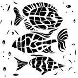 Ocean fish illustration background pattern in black white Stock Photos
