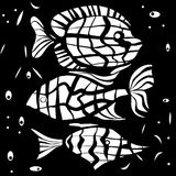 Ocean fish illustration background pattern in black white. Colors Stock Photos