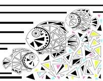 Ocean fish mosaic illustration background Stock Photo