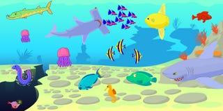 Ocean fish scene horizontal banner, cartoon style Royalty Free Stock Photo